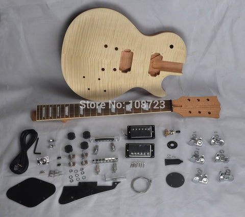 Kaynor DIY Mahogany Body Flamed Maple Electric Guitar Kit (Dual Humbuckers)