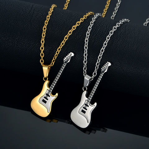 Hamilton Gifts Stainless Steel Guitar Necklace Pendant (3 Colors Available)