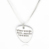 "Hamilton ""When words fail music speaks"" Quote Silver Guitar Pick Necklace"