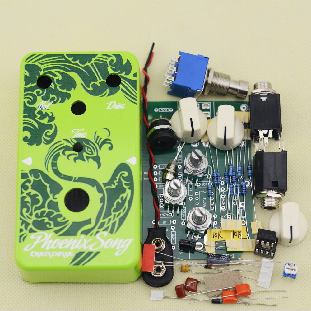 Finetone Diy Green Phoenix Overdrive Guitar Effects Pedal Kit True Programmer Circuit Bypass