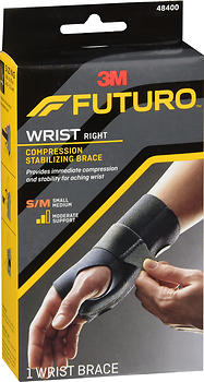 FUTURO Compression Stabilizing Wrist Brace Left Moderate Support S/M 48400
