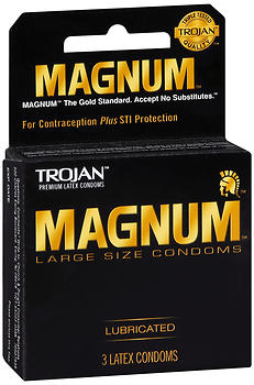 TROJAN Magnum Lubricated Large Size Latex Condoms 3 ea