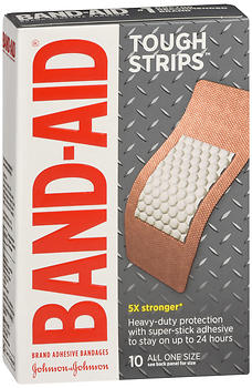 BAND-AID Tough Strips Adhesive Bandages All One Size 10 EA