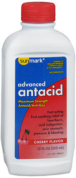 SUNMARK ADVANCED ANTACID LIQUID MAXIMUM STRENGTH CHERRY FLAVOR