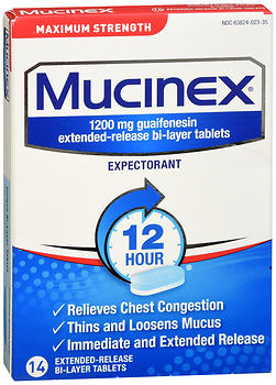 Mucinex Expectorant Tablets Maximum Strength 14 tb