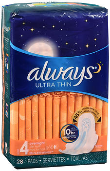 Always Ultra Thin Pads with Flexi-Wings Overnight 28 EA