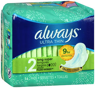 Always Ultra Thin Flexi-Wings Pads Size 2 Long Super 16 EA