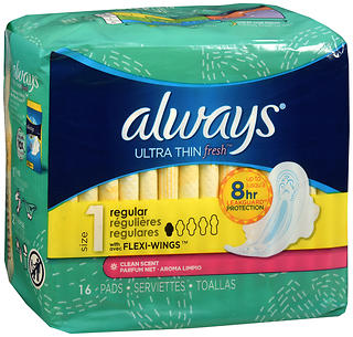 Always Ultra Thin Fresh Flexi-Wings Pads Regular Clean Scent 16 EA