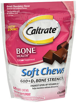 Caltrate Soft Chews 600 +D3 Chocolate Truffle 60 CT