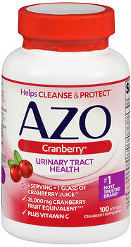 Azo Cranberry Urinary Tract Health Supplement Softgels 100 CP