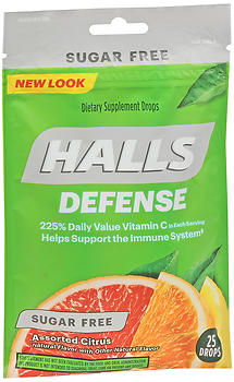 Halls Defense Vitamin C Drops Sugar Free Assorted Citrus