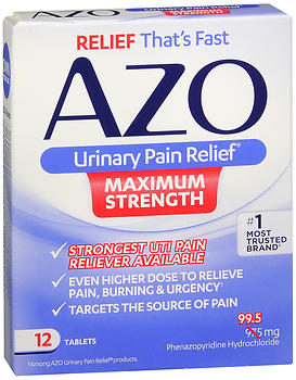 AZO Urinary Pain Relief Tablets Maximum Strength 12 TB