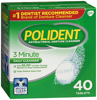 Polident 3 Minute Antibacterial Denture Cleanser Tablets 40 TB