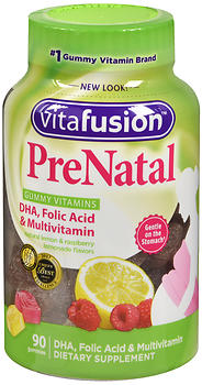 Vitafusion PreNatal Gummies Natural Lemon & Raspberry Lemonade Flavors 90 EA