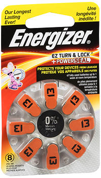 Energizer EZ Turn & Lock Power Seal Hearing Aid Batteries Size 13 8EA