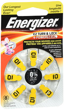 Energizer EZ Turn & Lock + Power Seal Zinc Air Hearing Aid Batteries Size 10 8EA
