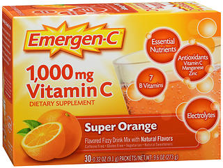 Emergen-C Vitamin C Dietary Supplement 1000 mg Fizzy Drink Mix Packets Super Orange 30CT