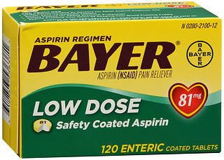 Bayer Low Dose Safety Coated Aspirin 81 mg Tablets 120 TB