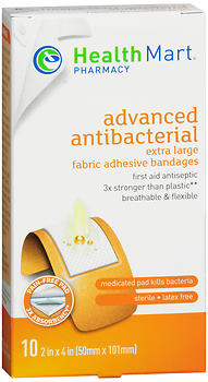 Health Mart Flexible Fabric Extra Large Adhesive Bandages Advanced Antibacterial 2 in x 4 in 10 EA