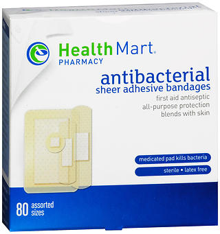 Health Mart Plastic Adhesive Bandages Antibacterial Assorted Sizes 80 EA