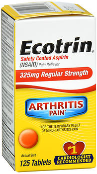 Ecotrin Safety Coated Aspirin 325 mg Regular Strength Tablets 125 TB