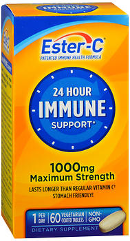 Ester-C 24 Hour Immune Support 1000 mg Maximum Strength Vegetarian Coated Tablets 60 TB
