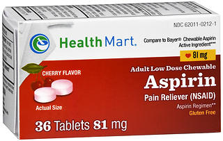 Health Mart Adult Low Dose Chewable Aspirin 81 mg Tablets Cherry Flavor 36 TB