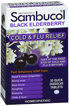 Sambucol Black Elderberry Cold & Flu Relief Quick Dissolve Tablets 30 TB