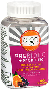 Align Prebiotic + Probiotic Gummies Natural Fruit Flavors 60CT