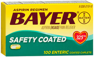 Bayer Safety Coated Aspirin 325 mg Caplets 100 CP