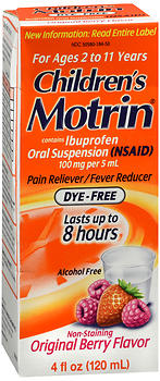 Motrin Children's Ibuprofen Oral Suspension Dye-Free Original Berry