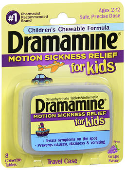Dramamine for Kids Motion Sickness Relief Chewable Tablets Grape