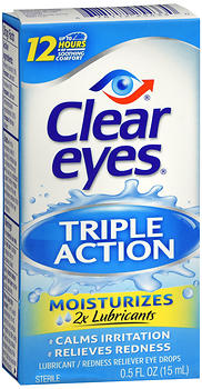 Clear Eyes Triple Action Lubricant Redness Reliever Eye Drops 0.5 oz