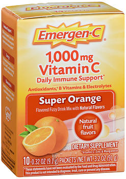 Emergen-C 1,000 mg Vitamin C Flavored Fizzy Drink Mix Packets Super Orange