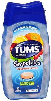 TUMS Smoothies Extra Strength 750 Antacid Chewable Tablets Assorted Fruit