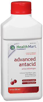 Health Mart Advanced Antacid/Antigas Maximum Strength Cherry Flavor 12 oz