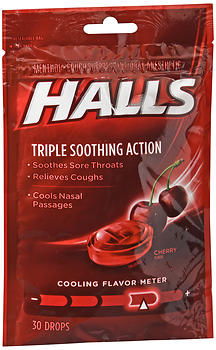 Halls Cough Suppressant/Oral Anesthetic Drops Cherry
