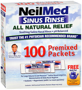 NeilMed Sinus Rinse All Natural Soothing Saline Premixed Packets