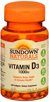 Sundown Naturals Vitamin D3 1000 IU Softgels 200 CP