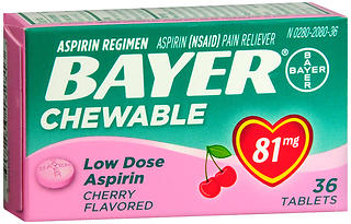 Bayer Low Dose Aspirin 81 mg Chewable Tablets Cherry Flavored 36 TB