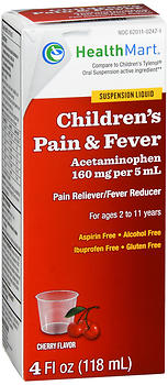 Health Mart Children's Pain & Fever Suspension Liquid Cherry Flavor 4 OZ