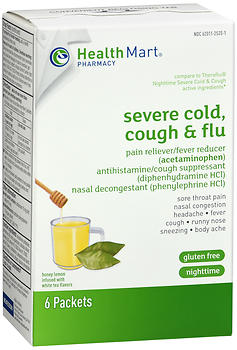 Health Mart Nighttime Severe Cold, Cough & Flu Packets Honey Lemon Infused with White Tea Flavors