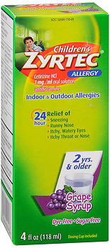 Zyrtec Children's 24 Allergy Syrup Grape 4 oz