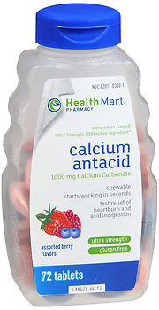 Health Mart Ultra Strength Calcium Antacid Chewable Tablets Assorted Berry Flavors
