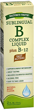 Nature's Truth Sublingual B Complex Liquid Plus B-12 Natural Berry Flavor 2 OZ