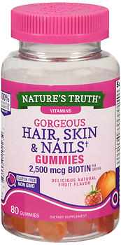 Nature's Truth Gorgeous Hair, Skin & Nails Gummies Natural Fruit Flavor 80 EA