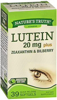 Nature's Truth Lutein 20 mg plus Zeaxanthin & Bilberry Quick Release Softgels