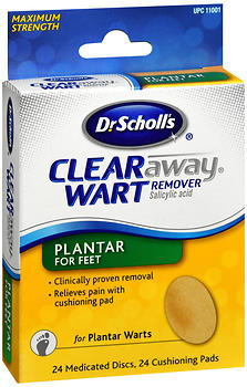 Dr. Scholl's Clear Away Wart Remover Pads Plantar for Feet 24 EA