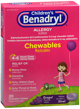 Benadryl Children's Allergy Chewable Tablets Grape Flavored