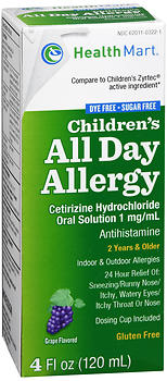 Health Mart Children's All Day Allergy Liquid Sugar Free Grape Flavored 4 oz